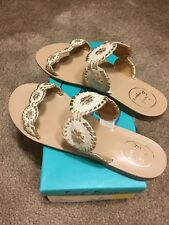 b53024767ee9 Jack Rogers Lauren Double Banded Leather Sandal 9.5 M in Bone Gold - New In