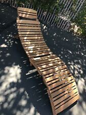 Outdoor Acacia Wood Slat Chaise Lounge Natural Finish Foldable Local Pick Up!