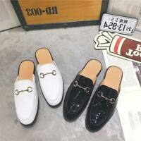 Mens Patent Leather Backless Mules Slippers Shoes Leisure Loafers Embroidery hot