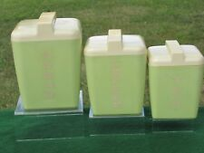 3pc Vintage Lime Green & Yellow Plastic Canister Set by Burroughs Mid Century