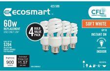 EcoSmart 60-Watt Equivalent Non-Dimmable Spiral CFL Light Bulb Soft White 4-Pack