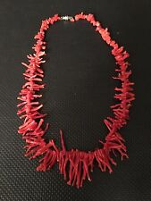 Vintage Natural Red Coral Branch Graduated Bead Necklace 37g - 19in FRANGIA