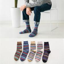 5 Pairs Lot Mens Cotton Socks Warm Multi color Fancy Stripe Casual Dress Socks
