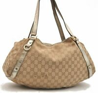Authentic GUCCI Shoulder Tote Bag GG Canvas Leather Beige Gold B2024