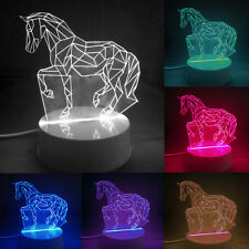 US 3D Horse Lamp LED Night Light Bedside Lamps Luces Home Kid Christmas Gift New