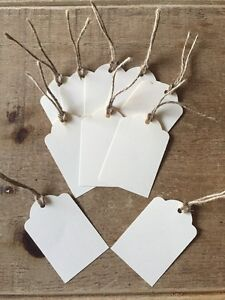 10 Handmade Cream Gift Tags-labels-wedding-name-scalloped edge-large