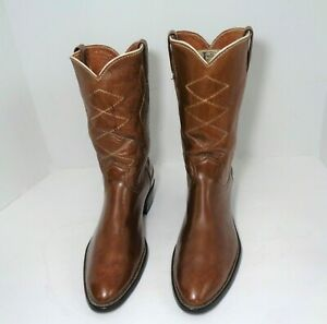 Vintage Justin 1536 Mens  Ropers Western Cowboy Boots Tan Color US Size 10D
