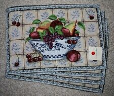 SET OF 4 FRUIT BOWL GRAPES/APPLES/TAPESTRY PLACEMATS/CREAM/SLATE BLUE/NWT