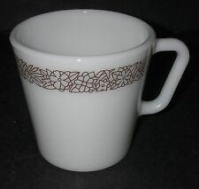 Corning Ware Glass Pyrex WOODLAND Brown Mug Kitchen Glassware Floral Border