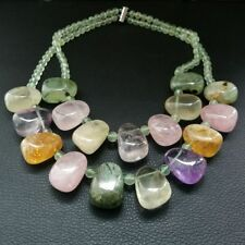 M012607 18'' 2 Strands Prehnite Rose Quartz Citrine Amethyst Necklace