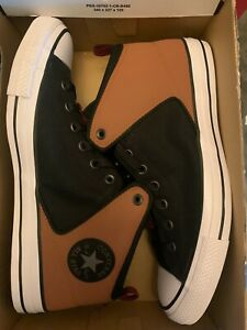 Converse CTAS High Street Mid Shoes Black /White Tan 166077C Men's size 12