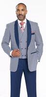Mens Navy Blue Double Breasted Vintage 3 Piece Shawl Lapel Suit EJ Samuel M2699