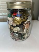 "Vintage Buttons in 5"" Ball Mason Jar - 100s Of Buttons."