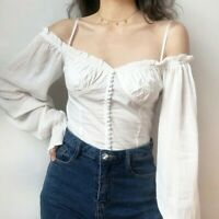 Women Chiffon Off Shoulder Blouse Top Shirt Retro Puff Sleeve Gothic Retro New