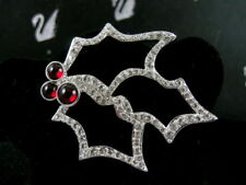Signed Swarovski Pave' Crystal Holly Berry Pin ~ Brooch Retired New