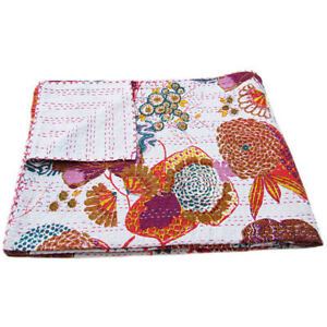 Indian Vintage Handmade Kantha Quilt Throw Cotton Reversible Blankets Bedspreads