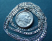 "Classic American 1937 Philly Buffalo Nickel on  28"" 925 ITALIAN Silver Chain"