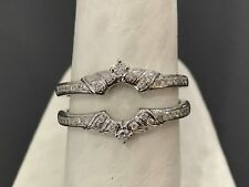 Diamonds Ring Guard Wrap White Gold solitaire enhancer Wedding Vintage Flower