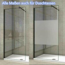 Duschabtrennung Duschwand Walk In NANO Echtglas schwarz Duschkabine Glas Dusche