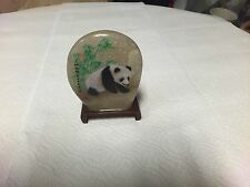 "Stone Painted Panda Collectible Art 4 5/8"" with Wooden Stand"