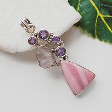 Rhodochrosit Amethyst Morganit Druse rosa Design Anhänger 925 Sterling Silber