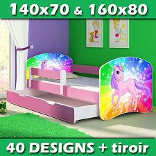 Lit enfant Bébé 140x70 160x80 TIROIR MATELAS + LIVRAISON GRATUITE ROSE