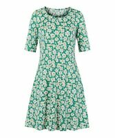 Sucrefas Women's Crew Neck Half Sleeve Floral Pocket A-Line Dress (Green, L)