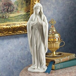 """Spiritual Blessed Madonna Sculpture Mother Mary Bonded Marble 11.5"""" Statue NEW"""