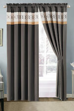 4-Pc Heart Diamond Spade Clover Floral Embroidery Curtain Set Gray Beige Coffee
