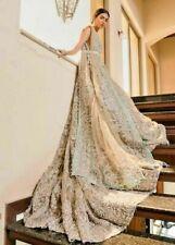 Long Trail Wedding Dress Shadi lehenga Walima Nikah beige Golden reception Gown