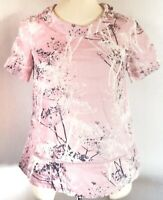 White Stuff Women's Top Pink Size 8 100% Linen Floral Casual VGC