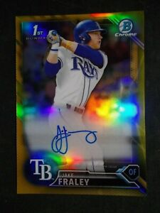 Jake Fraley Auto - Numbered 45/50 - 201 Bowman Chrome Gold Auto - Bowman First