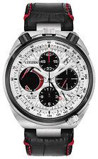 New Citizen Eco-Drive Tsuno Chronograph Men's Leather Strap Watch AV0071-03A