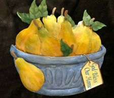 "3D ""Bless Our Home"" Pear Basket Hand Painted Wall Plaque, Tin Multi Color 4x6x1"""