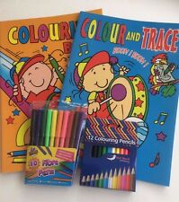 Colouring Book & Colour & Trace Colouring Book A4 size & 10 Felt Pens & Pencils