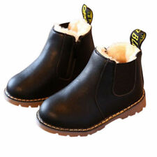 Boys Girls Kids Leather Ankle Boots Winter Flat Toddler Martin Shoes Size