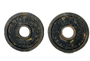 Lot Of 2 Olympic 5.5 Lb Weider International Cast Iron Weight Plate 2.5 Kg