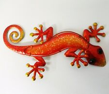 Orange Gecko Metal & Glass Wall Art Great for Indoor or Outdoor By fountasia