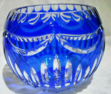 Lead Crystal Cut to Clear Blue Rose Bowl