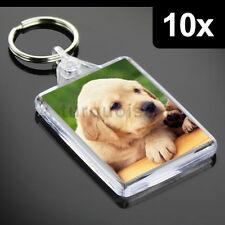 10x Premium Quality Clear Acrylic Blank Photo Keyrings Key Fobs 50 x 35 mm