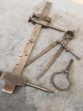 More details for antique brass & gunmetal trammels steel points hardwood beam compass