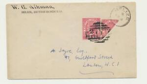 BRITISH HONDURAS 1891 2c BISECT+NORM ON COVER TO LONDON SG#37+37a (SEE BELOW)