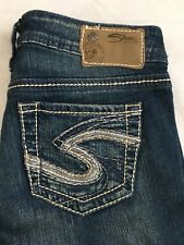 Silver Jeans Aiko Bootcut Size 25x33 Distressed Stretch Denim Heavy Stitch EUC