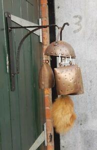 """Large Vintage 23"""" Metal Bell Wind Chimes & Wall Bracket"""