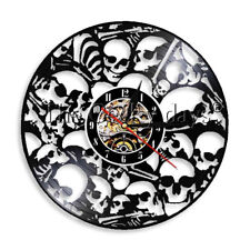Dead Skeletal Head Vinyl Record Wall Clock Piled Skull Wall Clock Halloween Gift