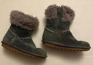Lovely Warm Clarks Girls Suede Blue Zip Up Boots 8.5F Good Condition Hardly Worn