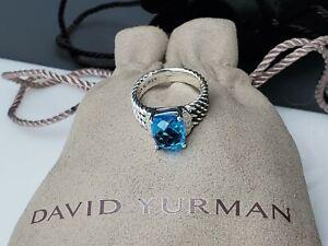 David Yurman Sterling Silver 10 X 8 MM blue topaz Diamond Wheaton Ring Size 7