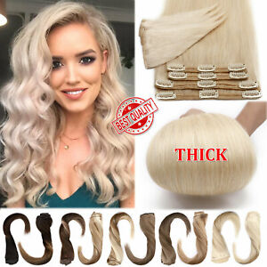 """Brazilian 18"""" Double Weft Clip In Full Head Thick Human Hair Extensions USA SALE"""
