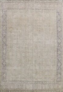 Antique Muted Tebriz Distressed Hand-knotted Evenly Low Pile WOOL Area Rug 9x12