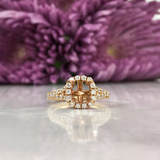 1.80 Ct Cushion Halo Diamond 18K Rose Gold Finish Semi Mount Engagement Ring